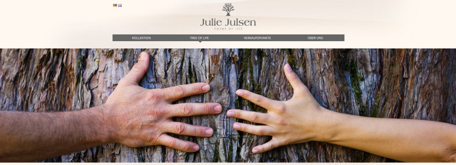 Julie Julsen - Lebensbaumschmuck - screenshot der Website von www.juliejulsen.com/deutsch/tree-life/