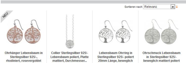 Juwelier online shop  Modeschmuck - Baum des Lebens - Lebensbaumschmuck